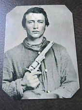 Civil War Military Soldier With Pistol tintype C500RP