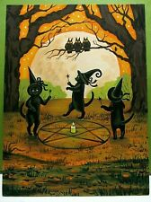 ORIGINAL OOAK HALLOWEEN RYTA BLACK CAT painting Vintage Style Art Witches Circle