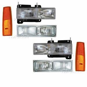 90 91 92 93 GMC PU Pickup TRUCK HEADLIGHTS & PARKING LIGHTS Full Front Set