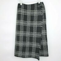 Talbots Sz 14 Petite 14P Womens Skirt Plaid Blanket Wrap Black Gray Fringe Wool