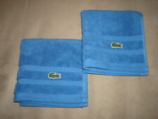 """2 LACOSTE BLUE HAND TOWELS 13"""" x 13"""""""