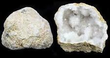 Natural White Quartz Crystal Geode Halves Pair Boxed