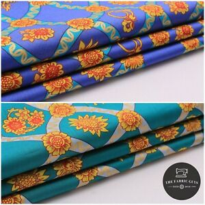 """Full Metre Cotton Lawn, Vintage Sunflower, Teal & Blue, Summer, High Quality 58"""""""
