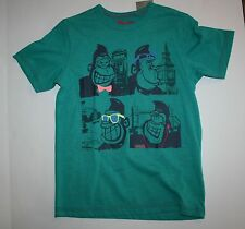 New Next UK Happy Ape Monkey Green Shirt Size 7 Year 122 cm NWT