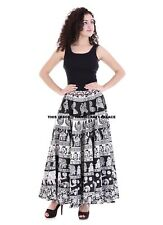Elephant Mandala Indian Cotton Waist Skater Wrap Long Skirt Bohemian Lehanga