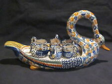 Henriot Quimper Swan Egg Server with Cups