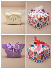 Cajas De Regalo X 12 Boda Fiesta Favor caja con cinta Mariposa O Diseño De Corazón