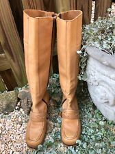 Oh Deer Tan Camel Tall Side Zip Women's Boots Made In Brazil Size 8 M Rare!