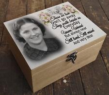 Personalised luxury pine wooden memory keepsake box, In loving memory gift box