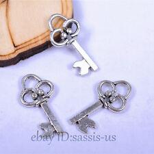 50pcs 19mm Charms keys pendant Diy Jewelry Bracelet Necklace Tibet Silver A7056