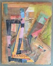 Vintage 90s Mixed Media Collage Decoupage Art Wall Hanging VanKleef Modern Art