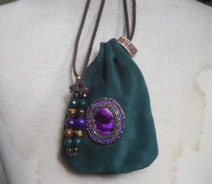 Purple Abalone Shell Green Suede Leather Drawstring Bag Tigers Eye Aventurine
