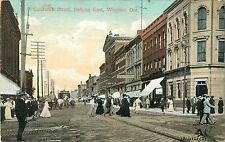 A Busy Day on Sandwich Street, Looking East, Windsor On Canada 1909