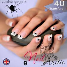 40 x Nail Art Water Transfers Stickers Wraps Decals Gothic Spider