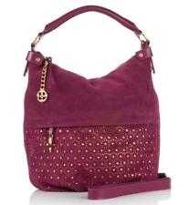 IMAN Platinum Collection Hobo Style Suede Handbag Purse Raspberry NEW WITH TAGS
