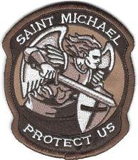 Dark Brown St. Saint Michael Protect Us Morale Patch VELCRO® BRAND Hook Fastener