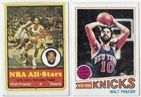 Topps Walt Frazier Lot Of 2 (1) 1973-74 (1) 1977-78 No. 10 & 129 Low Grade