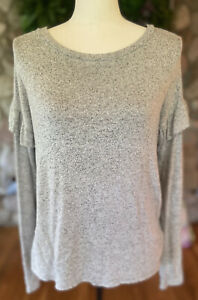 American Eagle Outfitters Soft & Sexy Plush Sweater Ruffle Sleeve Shirt Sz Med