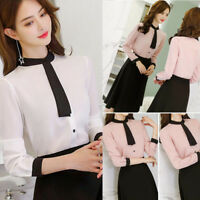 Fashion Women OL Work Formal Shirt Ladies Long Sleeve Office Uniform Top Blouses