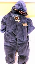 CARTERS NAVY BLUE VELOUR BUNTING SNOW SUIT W/HOOD & FEET, NWT - 6-9 INSULATED