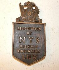 Vintage 1925/68 Bronze Plaque Assoc of NYS Highway Engineers District 9