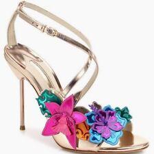 Sophia Webster Hula 3D Floral-appliqué Rose Gold Leather Sandal Heel sz 6 $1065