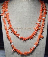 Handmade 120cm genuine branch orange coral white freshwater pearl necklaces