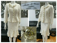 VINTAGE ANNA DE ROSSI COUTURE ITALY IVORY TWEED BOUCLE WOOL JACKET SKIRT SUIT 44