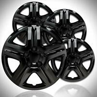 """4 18"""" Black Aftermarket Hubcaps  Gloss Black Wheel Covers, Great For Snow Tires"""