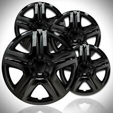 "4 18"" Black Aftermarket Hubcaps  Gloss Black Wheel Covers, Great For Snow Tires"