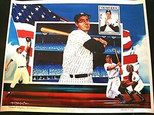 Joe DiMaggio Montage Litho NY Yankees Signed by The Late Robert Stephen Simon