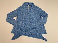 Girl's IVIVVA Lululemon Size 10 Open front Light Cardigan Wrap Blue Thumb Loops