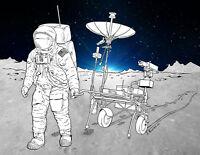 NASA 1970 Apollo 11 Moon Mission Landing Lunar Comms Concept Art Print Poster