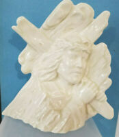 Christ with Cross on Shoulder Figurine Ceramic Off-White 8 x 7 x 3  Christian