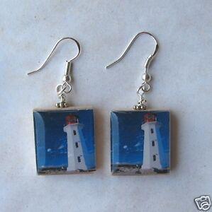 Lighthouse Earrings Scrabble Art Charm Nautical Blue Sky White Clouds Beach Love