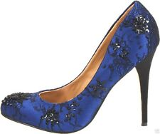 Badgley Mischka SANOMA Embellished Lace mesh pumps heels shoes BLUE  7,5 M NIB
