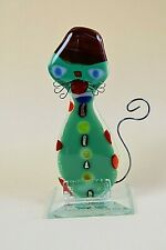 Clear  TALL FUSED ART GLASS CAT FIGURINE ORNAMENT HOME DECOR HANDMADE
