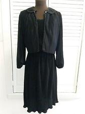 1950s 1960s ? classic black dress Bolero jacket tiny pleats small medium