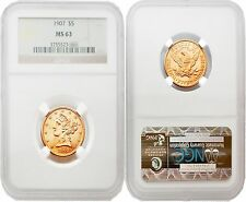 USA 1907 LIBERTY $5 Gold NGC MS63