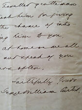 Autograph letter from GEORGE WILLIAM CURTIS to Thackeray re: J. Milton Mackie