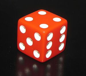 Clue 1 One RED Die/Dice Replacement Board Game Part/Piece White Pip 6 Sided