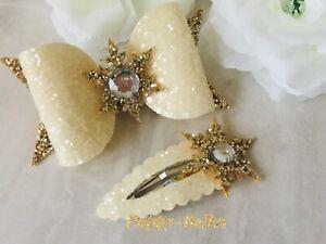 "Handmade glitter gold & cream snowflake 3"" bow & snap fringe hair clip"
