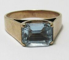 100% Genuine Vintage 9ct Solid Yellow Gold 1.5cts Topaz Ring Size 5.5 US