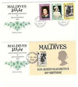 MALDIVE ISLANDS 1988 ROYAL RUBY WEDDING SET OF 3 & MINISHEET 2 x FIRST DAY COVER