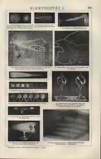 Lithografie 1910: ELEKTRIZITÄT. I/II. Elektroskop Sammlerbatterie Strom Spannung