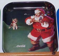 "COCA COLA COKE METAL TRAY ""CHRISTMAS SANTA AND DOG"" and tray magnet SIGN"