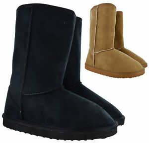 WOMENS WINTER WARM FAUX FUR LINED BOOTS LADIES COMFY CASUAL FLAT MID CALF SHOES