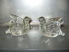 2 vintage clear glass Avon bird candle holders