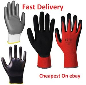 24 Pairs Nitrile Coated Palm Nylon Builders Safety Work Gloves Construction