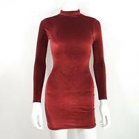 Boohoo UK 8 Bodycon Short Dress High Neck Long Sleeve Sexy Red  Maroon Velvet